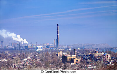 Industrial area in Mariupol Ukraine