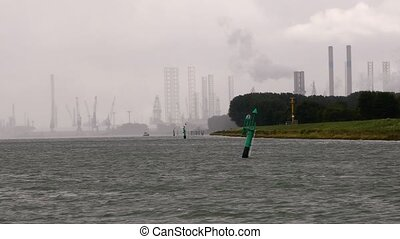 Industrial area of Rotterdam - Ferry ride in the industrial...
