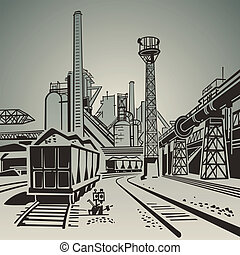 Soviet industrial landscape with railway wagons and pipes and towers illustration