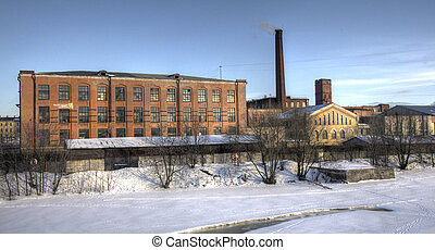 Industrial area. The urban landscape. Winter.