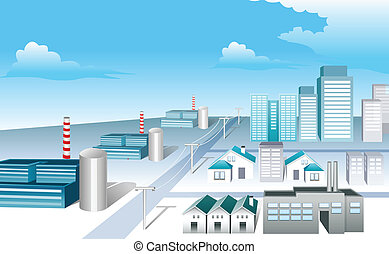 Industrial Area - This illustration is a common cityscape.