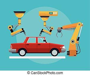 industrial, asamblea, producción del coche, robótico, línea