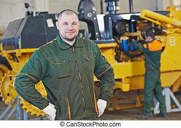 industrial, assembler, trabalhador