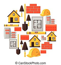 Industrial background design with housing construction...