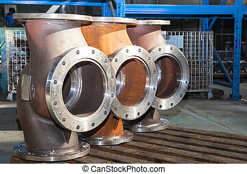 Industrial background from part of valves for power, oil or ...