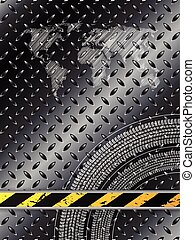 Industrial background in black with tire treads