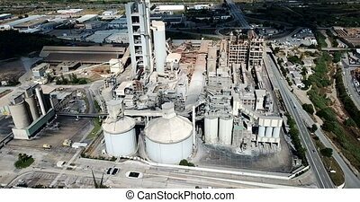 cement factory. Aerial view - Industrial background with ...