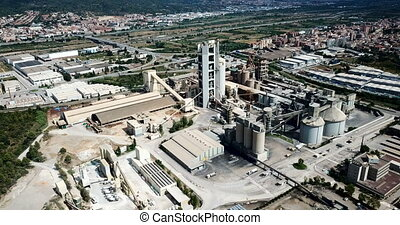 large cement factory. Aerial view - Industrial background ...