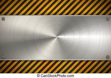 Industrial background with metal blank plate on worn warning pattern with red and white stripes