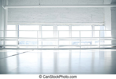 Industrial background with windows and white floor