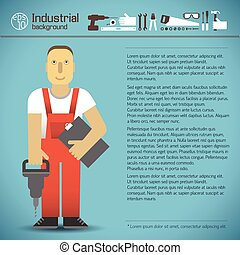 Industrial Background With Worker