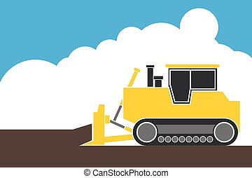 industrial backhoe, bulldozer moving earth and sand in quarry