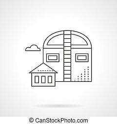 Industrial barns flat line vector icon