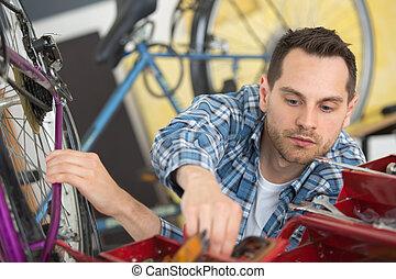 industrial, bicicleta, assembler