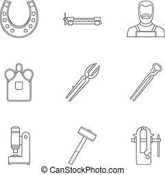 Industrial blacksmith icon set, outline style