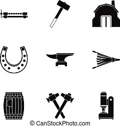 Industrial blacksmith icon set, simple style