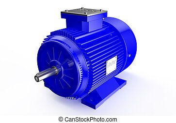 Industrial blue electric motor  isolated on white background