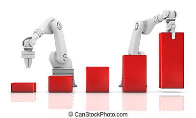industrial, brazos robóticos, edificio, gráfico