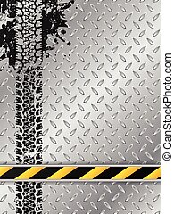Industrial brochure with tire track and striped bar