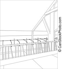 Industrial building constructions indoor. Tracing illustration of 3d