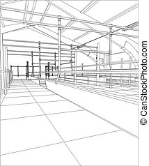 Industrial building constructions. Milk farm. Tracing illustration of 3d