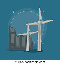 industrial building design - eolic turbine and industrial...