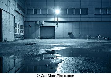 Industrial building detail - Dark industrial building at...