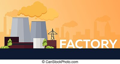 Industrial building factory. Manufacturing. Vector flat...