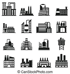 Industrial building factory simple icons