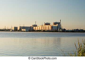 Industrial building on the edge of a waterway - View across ...