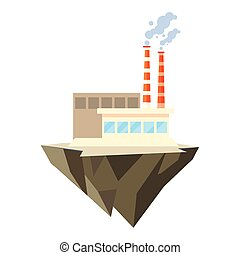industrial building over terrain over white background