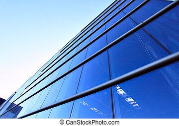 Perspective of glass wall modern industrial building