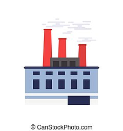 Industrial building, power or chemical plant, factory vector illustration