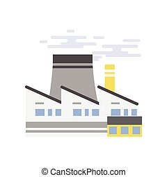 Industrial building, power plant or nuclear plant vector illustration