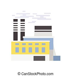 Industrial building, power plant vector illustration