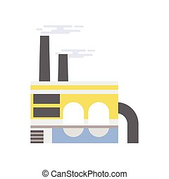 Industrial building, refinery plant vector illustration