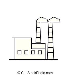 Industrial building thin line icon concept. Industrial building linear vector sign, symbol, illustration.