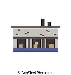 Industrial building, warehouse vector illustration
