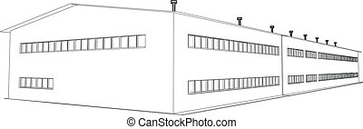 Wire-frame industrial building on the white background. EPS 10 vector format
