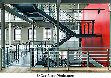 Industrial building with red wall - Industrial building...