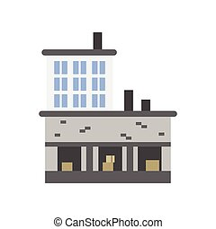 Industrial building with warehouse vector illustration