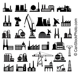 Industrial buildings on a white background