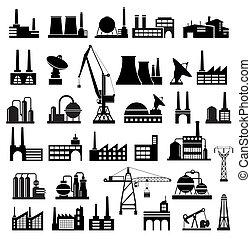 Industrial buildings 2 - Industrial buildings on a white...