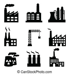 Industrial buildings on white background