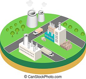 industrial buildings factories and boilers in perspective