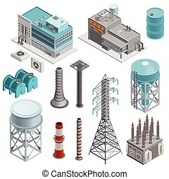 Industrial Buildings Isometric Icons Set - Industrial...