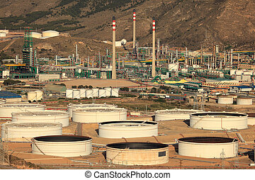 Industrial buildings of a petrochemical plant