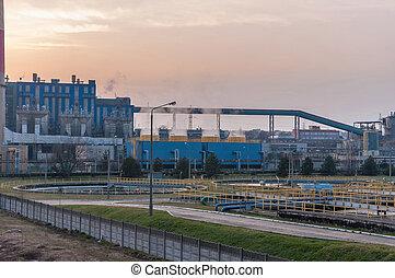 Industrial buildings of CHP at dusk