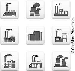 Industrial buildings, power plants and factories icons