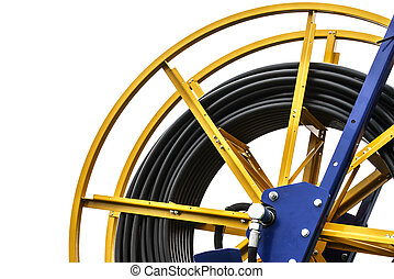 Industrial cables rolled up on reel